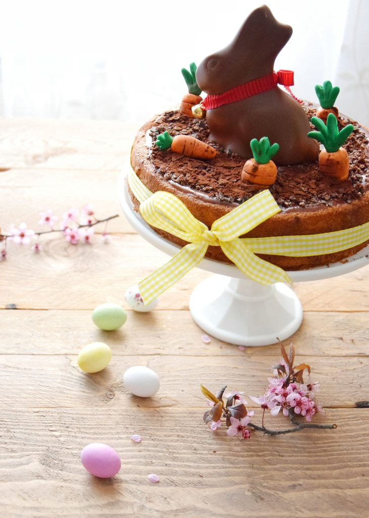 Hot Milk Sponge Cake with Easter bunny