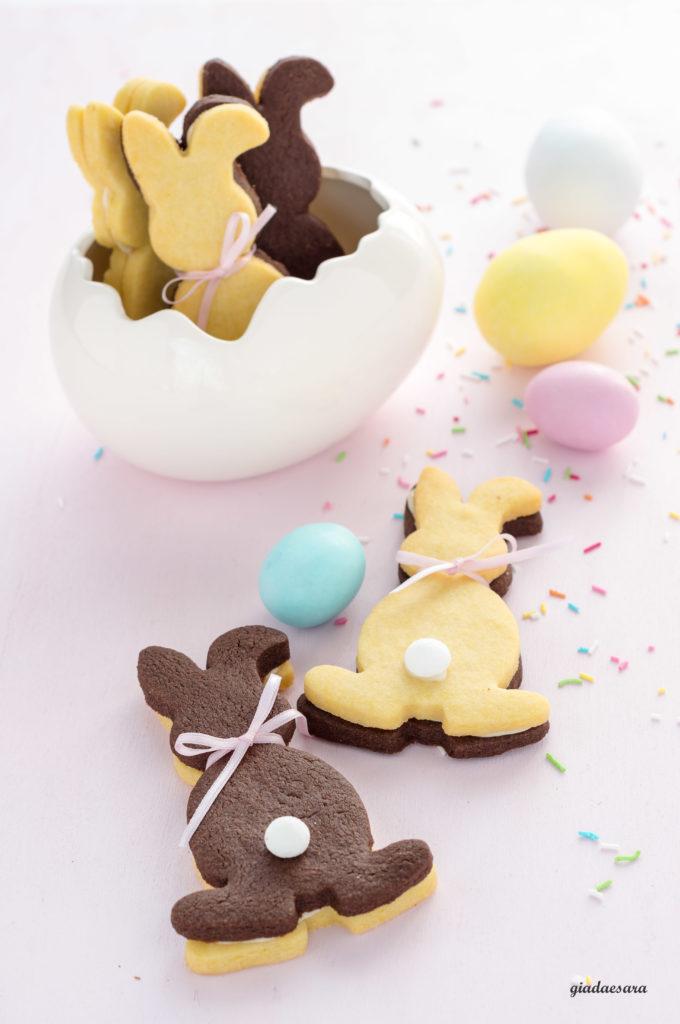 Coniglietti di frolla vaniglia e cacao
